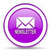 picture of newsletter  - newsletter violet icon  - JPG