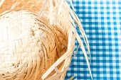 picture of party hats  - Straw Hat on the table  - JPG