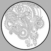 image of trippy  - coloring book page for adults  - JPG