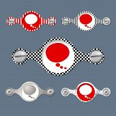stock photo of bubble sheet  - Five abstract objects with pattern and speech bubble - JPG