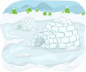 stock photo of igloo  - Illustration of Igloos Situated in the Middle of an Isolated Community - JPG