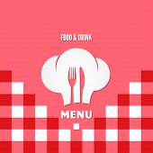 picture of chef knife  - menu chef fork and knife concept design vector background - JPG