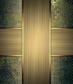 image of nameplates  - Vintage metal background with gold nameplate - JPG