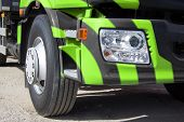 picture of cabs  - Trailer truck DSLR photography truck heavy freight transportation of large cargoes modern truck truck cab bright paint horizontal image the wheel of the truck the optical lamp on the truck - JPG