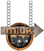 picture of milk  - Wooden sign with directional arrow with text Milk and steel cans for the transport of milk - JPG