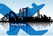 pic of hong kong bridge  - Hong Kong skyline with airplane for travel design - JPG