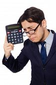 image of cheater  - Funny man with calculator isolated on white - JPG