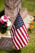 foto of veterans  - USA flag placed by a Veteran - JPG