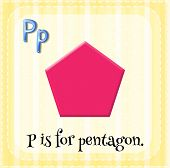 stock photo of letter p  - Flashcard letter P is for pentagon - JPG