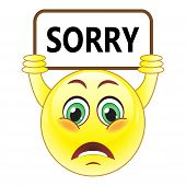 stock photo of saying sorry  - Yellow balloon with a sign that says sorry - JPG