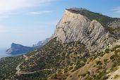 image of crimea  - Mount Sokol and Black sea coast near Novy Svet - JPG