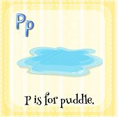 image of letter p  - Flashcard letter P is for puddle - JPG