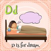 picture of letter d  - Flashcard letter D is for dream - JPG