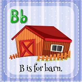 picture of letter b  - Flashcard letter B is for barn - JPG