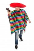 picture of pistols  - Funny mexican holding pistol isolated on white - JPG