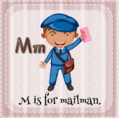 image of letter m  - Flashcard letter M is for mailman - JPG