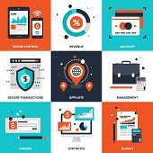 stock photo of electronic banking  - Vector set of flat banking and finance icons on following themes  - JPG