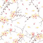 picture of japanese magnolia  - Spring sunny trees chinese seamless vector print - JPG