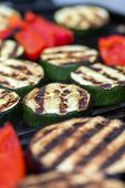 image of zucchini  - Zucchini eggplant and red pepper on a bbq grill - JPG