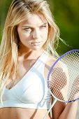 stock photo of badminton player  - Badminton player - JPG
