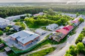 stock photo of lunate  - Vinzili, Russia - May 25, 2015: Tyumen regional clinical psychiatric hospital. Aerial view