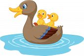 pic of mother goose  - Vector illustration of Cartoon ducks on the pond - JPG