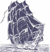 picture of pirate ship  - Isolated old sail ship on white background - JPG