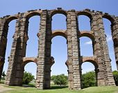 stock photo of aqueduct  - Vertical panoramic view of Roman Aqueduct Los Milagros Merida Spain - JPG
