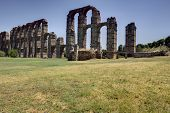 picture of aqueduct  - Roman Aqueduct of Merida Los Milagros from west side - JPG