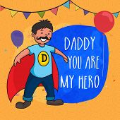 stock photo of daddy  - Super Dad on decorated yellow background with stylish text  - JPG