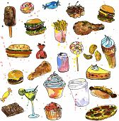 foto of sweet food  - set of sweets and fast food - JPG