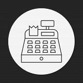picture of cash register  - Cash Register Line Icon - JPG