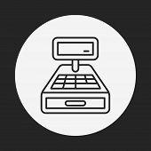 image of cash register  - Cash Register Line Icon - JPG