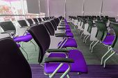 pic of training room  - Many dark purple chairs arranged neatly in a training room - JPG