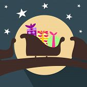 foto of santa sleigh  - Illustration Christmas sleigh with Santa Claus and gifts - JPG