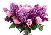 stock photo of purple white  - Bunch of purple Lilac flowers with pink roses isolated on white background - JPG