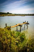 picture of pier a lake  - Beautiful countryside landscape with a lake and and small pier  - JPG