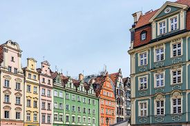 stock photo of tenement  - Facades of ancient tenements in the Old Town in Wroclaw - JPG