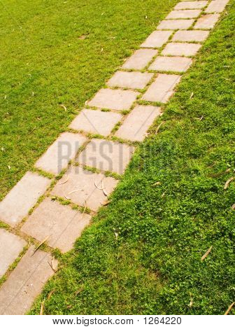 Picture or Photo of A stone path way on a garden grass