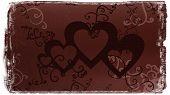 Dark Textured Background With Hearts & Scrolls
