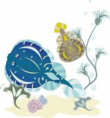 picture of flounder  - Flounder underwater world vector illustration for design - JPG