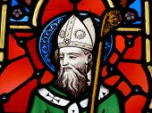 picture of saint patrick  - a stained glass image of st - JPG