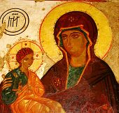 Antique orthodox icon mary and christ