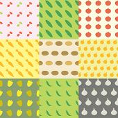 Vegetables Seamless Pattern Background Set