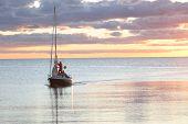 Sailing Boat  On Its Way Into Harbor