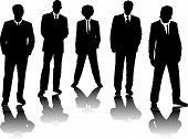 picture of black tie  - a small group of business people in black silhouette - JPG