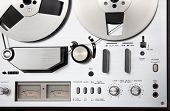 Vintage reel-to-reel tape recorder deck controls