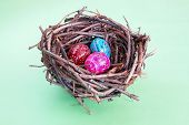 Three Easter Eggs In Nest