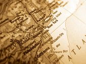 pic of usa map  - a sepia photo of an atlas map of new york - JPG