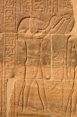 stock photo of isis  - A carving of the Ancient Egyptian god Thoth on a wall of the Temple of Isis at Philae - JPG